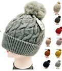 Warm Winter Hat Ski Beanie Faux Fur Pom Pom Ice Skating Thick Knit Braid Wave