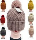 Warm Winter Hat Ski Beanie Faux Fur Pom Pom Ice Skating Thick Knit Zig Zag Wave