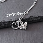 Sterling Silver Tiny Honeycomb Bumble Bee Charm Necklace