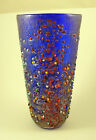 NEW MURANO MURRINE AMAZING RILIEVO BLUE LARGE VASE ITALIAN ART GLASS OF VENICE