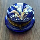 Antique Moser Blue Glass Trinket Box Pill Box