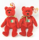 Lot of 2 Ty Beanie Babies Red Osito Bear Plush 1999 with hang tags