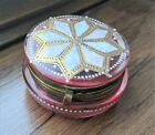 Antique Enameled Moser Cranberry Pink Glass Trinket Box with Gold Gilt Accents
