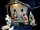 Vtg Lighted Creche Nativity Set Manger Stable Christmas Lit large 14 X 13 X 8