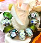 9 Pandora Silver 925 Murano Charms Green Ocean Love Flower Garden Glass Beads