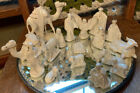Vintage 1960s Handmade White Gold Ceramic Nativity Set Atlantic Mold 17 Pieces