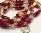 VINTAGE VENETIAN MURANO Red Glass Bead NECKLACE Gold Foil Lampwork 33 in