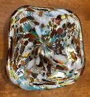European Glass Candy Dish Multi Colored Colorful Gorgeous Art Deco