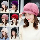 Womens Ladies Peaked Beanie Hat Cable Knitted Winter Warm Cap Fleece Lined Plain