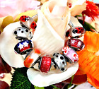 9 Pandora Silver 925 Murano Charms Red Ladybugs Roses Bubble Heart Glass Beads
