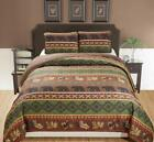 Rustic Western Southwestern Brown Quilt Set With Native American Designs Grizzly