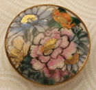 Gold Accents Satsuma Picture Button Just Over One Inch Across 19th c