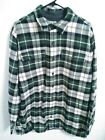 LL Bean Mens Size Large Tall LT Green Plaid Fleece Lined Flannel Button Up Shirt