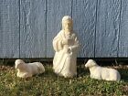 VINTAGE POLORON WHITE BLOW MOLD SHEPHERD  2 SHEEP NATIVITY Yard Display