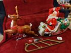 Santa and Sleigh Reindeer Lighted Blow Mold 72 Christmas Yard Decoration New