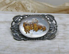 Vintage Sterling Silver Pekingese Dog Glass Reverse Painted Intaglio Brooch Pin