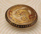 Heavy Gold Satsuma Picture Button Shimazu crest 19th c Meiji Period BBB