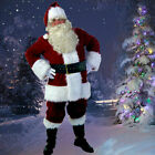 US Santa Claus Suit Christmas Costumes Fancy Dress Deluxe Velvet Full Set