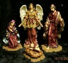 Roman Inc Large Tall Jeweled Nativity Christmas scene Figurines Very Rare