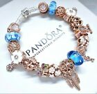AUTHENTIC PANDORA SILVER CHARM BRACELET ROSE GOLD  BLUE MURANO GLASS BEADS