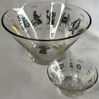 Lot Of 2 Vintage Glass Footed Serving Salad and Dressing Bowls Zodiac Astrology