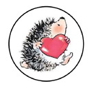 Valentines Day Hedge Hog Heart Sticker Label Envelope Seal Scrapbooking