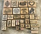 LOT 30 PSX Rubber Wood Stamp Lot Stampendous Delafield Hero Floral Holiday