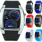 Cy_ Mens RPM Turbo Blue Flash LED Sport Car Meter Dial Watch Wristwatch Gift Nov