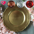 6 24 Wavy Scalloped Edge Acrylic Plastic Charger Plate Shiny Rose Gold Silver