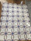 VINTAGE HAND QUILTED DOUBLE WEDDING RING QUILT Calico Shabby Cottage Chic 82X62
