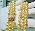 FABULOUS VINTAGE GLASS KNOTTED PEARL BEADS 3 STRAND NECKLACE GOLDFILLED CLASP