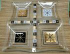 Large Mid century modern pressed glass divided tray gold black white