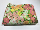 Vintage Twin Flat Bed Sheet Floral Flower Power Fabric Pink Yellow Orange Green