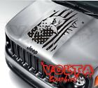Vinyl Hood Decal Compatible with Jeep Renegade Distressed American Flag Eagle