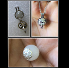 OM White Russian Natrolite Crystal Spiritual Sterling Silver Locket Necklace 18