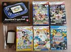 Wonder Swan Crystal Boxed Blue Violet Console Bandai + 5 Digimon games Tested