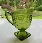 Indiana Glass Olive Green Daisy #620 Sandwich Footed Creamer Pitcher