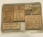 STAMPIN UP RUBBER STAMPS 2007 BUNDLE OF JOY BABY TEDDY BEAR GIRAFFE STAR MOONS