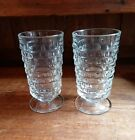 Vintage Indiana Glass Whitehall Colony Clear Footed Tumblers Glasses Lot of 2