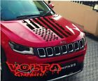 Vinyl Hood Decal Compatible with Jeep Compass New Distressed American Flag