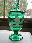 Fenton MARY GREGORY EMERALD GREEN COVERED CANDY DISH Hand Painted LTD ED NIB