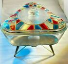 Inland Glass Triangle Casserole Dish  Stained Glass Lid Warming Stand VINTAGE