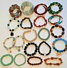 21 beaded stretch and spiral bracelets Gemstone sea glass shell coral