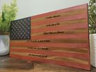 Handmade US Pledge Of Allegiance American Wooden Torched Wood Rustic Flag