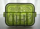 Indiana Glass Green Fruit Garland Happenings 5 Part Divided Relish Tray Platter