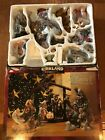 Kirkland Porcelain Nativity Set 75177 w Wood Creche 12 Piece Set in Box