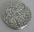 Vintage 800 Silver Italy Engraved Round Detailed Compact