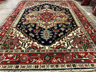 9x12 BLUE HAND KNOTTED WOOL RUG NEW HERIZ handmade oriental rust dark navy green