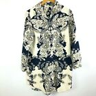 Soft Surroundings Floral Blue White Button Front Tunic Top Womens Size Large L