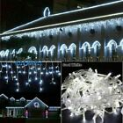 US Connectable 96 1000 LED Curtain Icicle String Fairy Light Xmas Cool White WQ